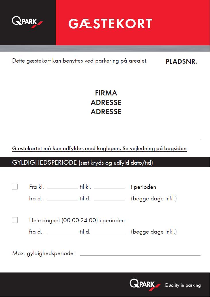 Gæstekort type 2
