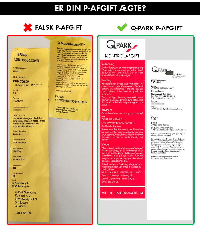 Sammenligning af falsk og aegte P-afgift