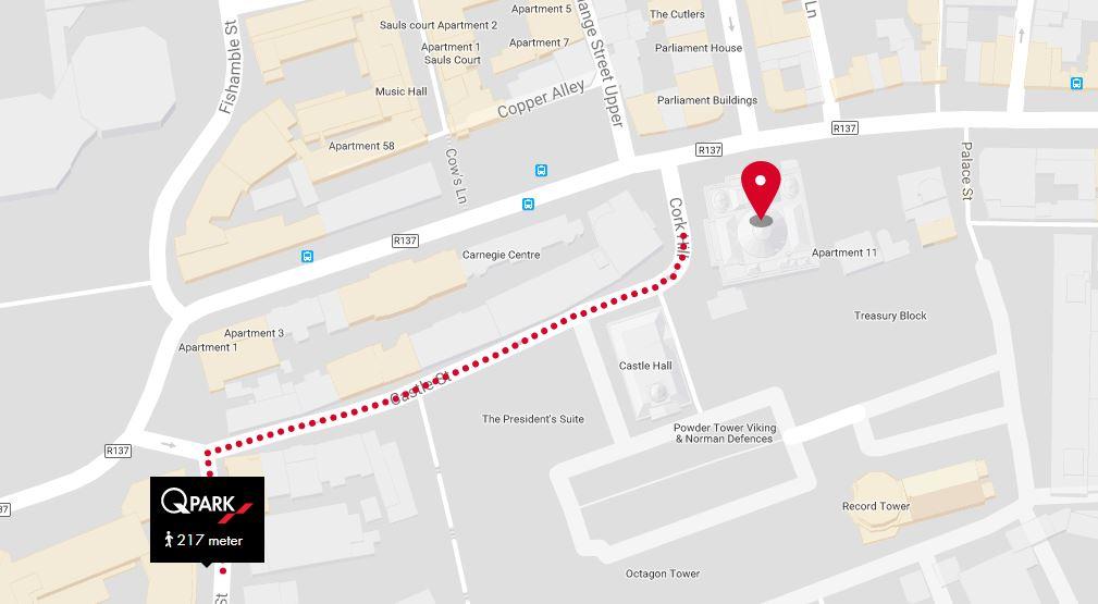 Closest car park to Dublin City Hall